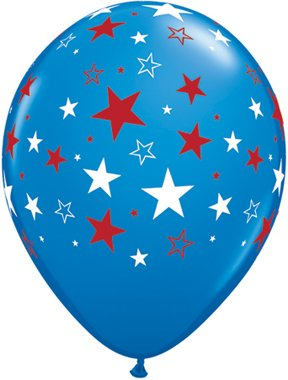 "Patriotic Blue with Stars 11"" Latex Balloons - Package of 12"
