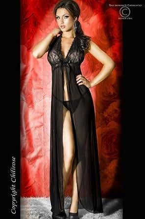 Deshabillé Noir et string assorti - Couleur Noir - Taille 36-38