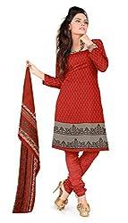 Khushali Presents Printed Crepe Dress Material (Gajari)