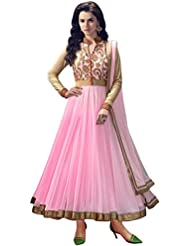 Galaxy Women's Net Designer Pink Long Semi Stitched Anarkali Suit (Pink_102)