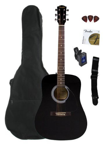 Fender Fa-100 Limited Edition Dreadnought Acoustic Guitar Pack With Gig Bag, Tuner, Strings, Strap, And Picks - Black