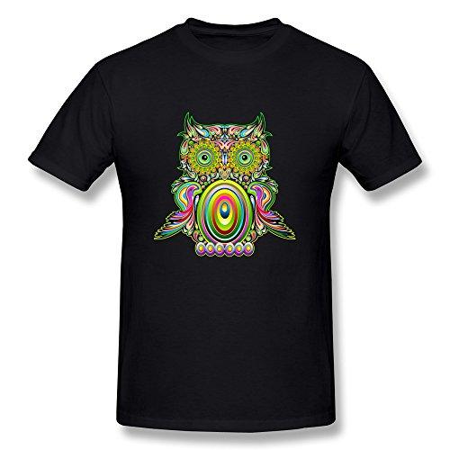 Fashion Men's Tee The Owl With Indian Headdress M Black (Maleficent Headdress)