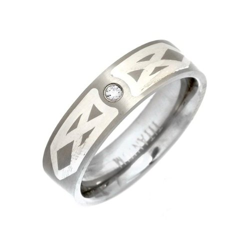 6mm Titanium Ring Accented With Shoulder Silver Inlay Design Single Stone Channel Set