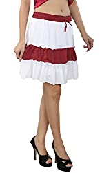 Anuze Fashions White & Maroon Three Layer Skirt For Women's And Girl's
