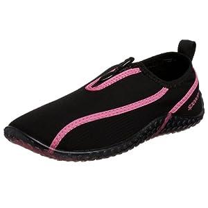 Speedo Women's ZipWalker Water Shoe,Black/Hot Pink,9 M