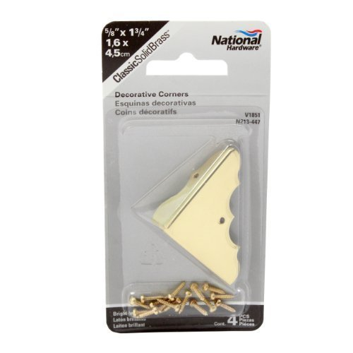NATIONAL/SPECTRUM BRANDS HHI N213-447 5/8-Inch Bright Brass Corner, 4-Pack by NATIONAL MFG/SPECTRUM BRANDS HHI