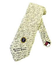 Museum Artifacts Mens Presidents Signatures Necktie - Beige - One Size Neck Tie