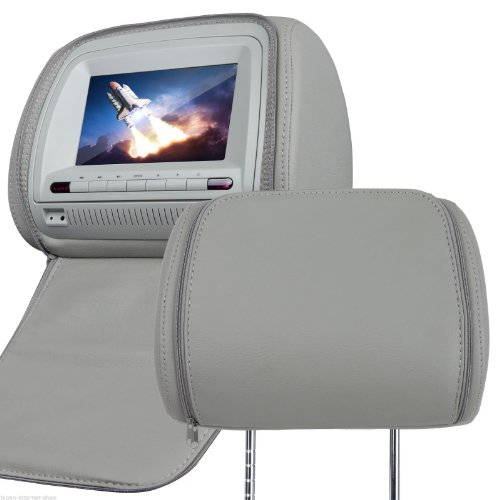 Eonon Brand New L0267 2X7 Inch Digital Screen Leather Car Headrest Dvd Player- One Pair, Zipper Cover, Support Ir Earphone (L0267, Grey)