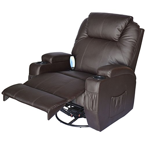 HomCom Deluxe Heated Vibrating PU Leather Massage Recliner Chair - Brown