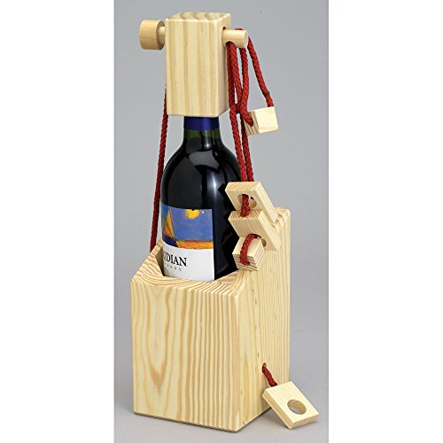 Bits and Pieces - Bewildering Wooden Wine Bottle Puzzle Case - Wooden Brainteaser Wine Bottle Puzzle - Great Wine Lover Gift (Wine Bottle Puzzle compare prices)