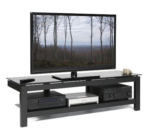 41OVPKi3C6L PLATEAU SL 2V 64 B Wood and Glass 64 TV Stand, Black Satin paint finish
