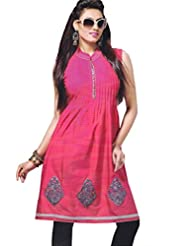 Lavis Women's Pink Printed Cotton Kurti