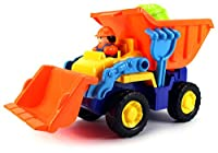 Construction Dude Dump Truck Children's Kid's Toy Beach/Sandbox Truck Playset w/ Toy Truck, Hand Tools, Sand Molds (Colors May Vary) by Velocity Toys from Velocity Toys