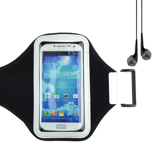 Workout Armband Pouch Case For Samsung Galaxy S4, S3 And Htc One (Black) + Black Vangoddy Headphones With Mic