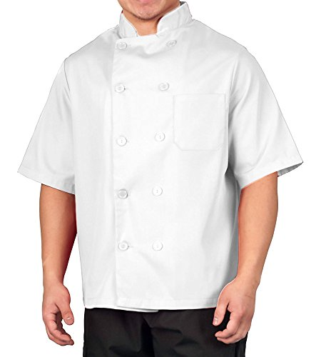 White Lightweight Short Sleeve Chef Coat, L (Chef Jacket For Men Short Sleeves compare prices)