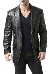 BGSD Men's ''Richard'' Classic Two-Button New Zealand Lambskin Leather Blazer - Black Big & Tall 4XLT