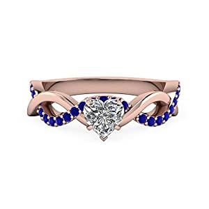 0.90 Carat Heart Shaped & Blue Sapphire Different Engagement Rings For Her 14K GIA (H Color, VS2 Clarity)