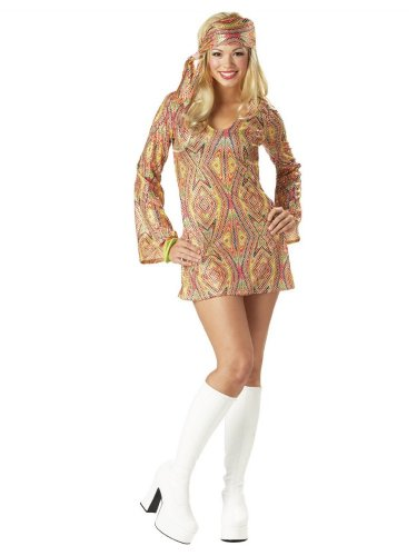 California Costumes Women's Disco Dolly Costume Dress with Head Wrap