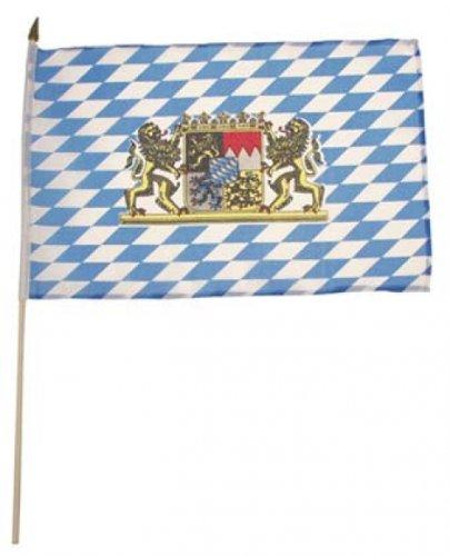 Fahne, Bayern mit Wappen, Holzstiel, Gr. 30x45 cm Bayern