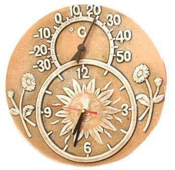 Outdoor Garden Terracotta Clock  &  Thermometer - Stone