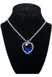 Heart of Ocean Titanic Blue Heart Crystal Rhinestone Diamond Necklace of Ross