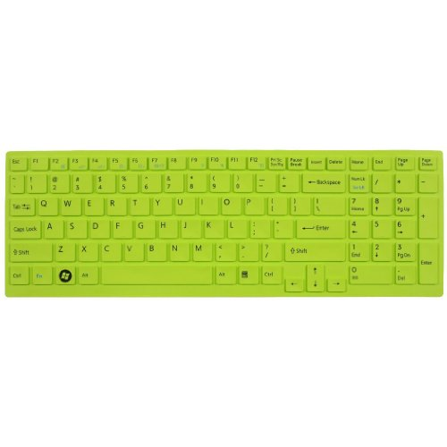Silicone Laptop Keyboard Protector Skin Cover For Sony Vaio Pcg-61511T, E15, S15, F219, F24, Eb, Ee, Eh, El, Cb, Se, Series 15.5 Inch With Number Pad On The Right Us Layout (Green)