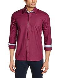 Raymond Men's Casual Shirt (8907114001829_RCSX00506-R7_40_Dark Red)