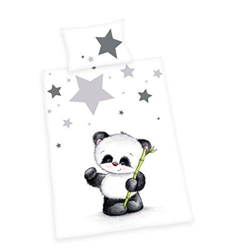 Herding 2485201063 Bettwäsche Jana Panda, Kopfkissenbezug 40 x 60 cm und Bettbezug 100 x 135 cm, renforce
