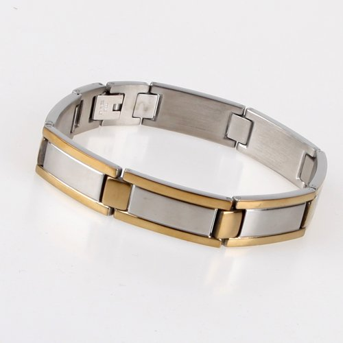 High Polished ID Style Stainless Steel Link Bracelet with Gold Plated Links For Men With Gift Box JB1006