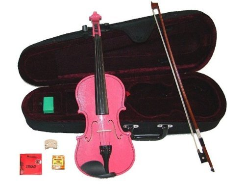 GRACE 14 inch Pink Student Viola with Case, Bow+2 Sets Strings+2 Bridges+Pitch Pipe+Rosin