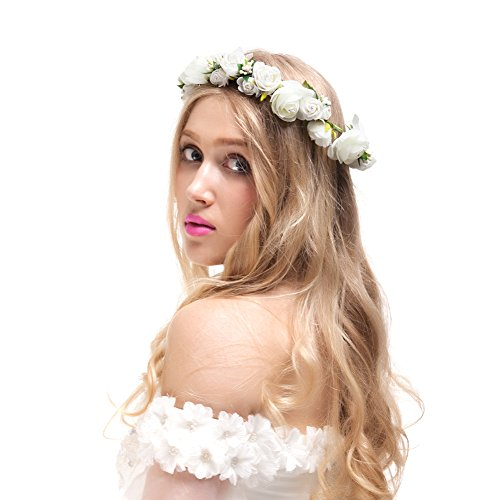 Valdler Jasmine Wreath Flower Crown Garland Halo for Wedding Festivals for Wedding Festivals (Ivory)