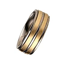 buy Bobauna Mens 8Mm High Polished Center / Matte Finish Titanium With Pure Classic Rings Wedding Bands-Zzs01 (Steel Gold-Ring Size 9)