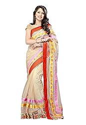 Offo Deals Womens Net Saree ( TM-17_Peach Cream_Freesize)