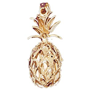 14K Yellow Gold 36mm 3D Pineapple Charm Pendant