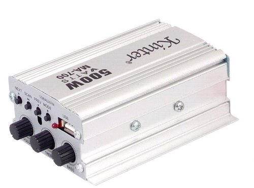 Cnfg Sb/Fm/Mp3 Playback Car Motorcycle Amplifier Audio Input Speaker Output White