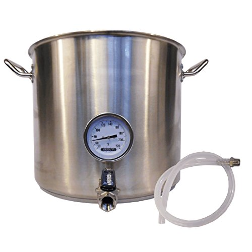 HomeBrewStuff Heavy Duty 10 Gallon Stainless Steel Kettle with Valve and Thermometer Includes SS Barb and Silicone Tubing (Home Brew Kettle compare prices)