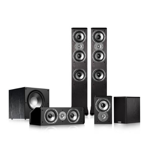 This Polk Audio 51 Home Theater Speaker Bundle IncludesTSi400 4 Way Tower With Three 5 1 Drivers