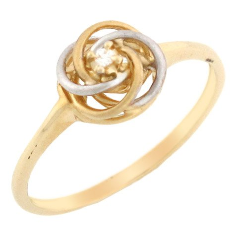 14k Two Tone Solid Gold Diamond Swirly Solitaire Promise Ring