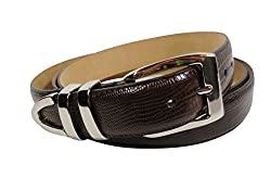 Men's Big and Tall Lizard Embossed Leather Belt, Brown, Buckle is Polished Nickle (62-64)