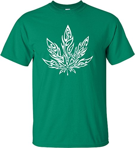 Small-Kelly-Green-Adult-Giant-Psychedelic-Pot-Leaf-Marijuana-420-T-Shirt