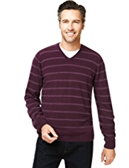 2in Longer Cashmilon™ V-Neck Striped Jumper