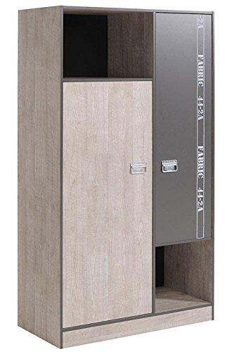 Kleiderschrank 101x182x51cm, Esche-Grau, Schlafzimmerschrank Drehtürenschrank Jugendzimmer Fabien 6 günstig online kaufen