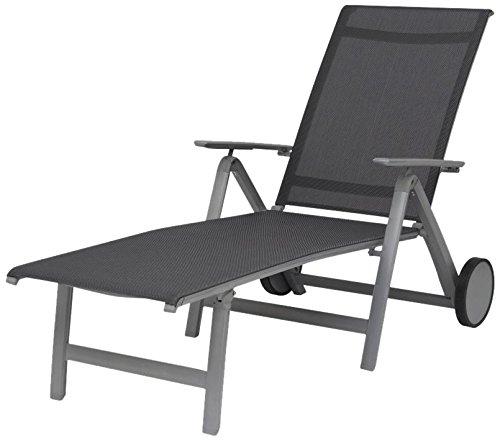 Siena Garden 255017 Rollliege London Aluminium-Gestell graphit Ranotex®-Gewebe 2*2 grau Rücken mehrfach verstellbar günstig