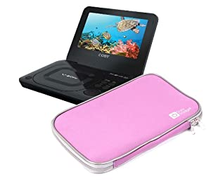 stylish lightweight pink portable dvd player case for coby tf3dvd7019 tfdvd7009 tfdvd7011. Black Bedroom Furniture Sets. Home Design Ideas