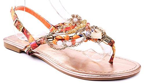 Jjf Shoes Delroy Orange Crystal Beaded Metallic Chain Buckle Thong Flat Sandals-7