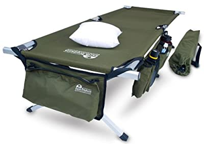 Earth Products Store Jamboree Military Style Folding Cot with Free Side Storage Bag System and Pillow, Green