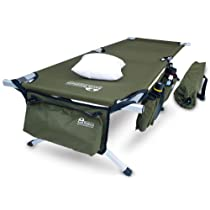 Military Style Green Folding Cot with Pillow and Free Side Storage Bag System