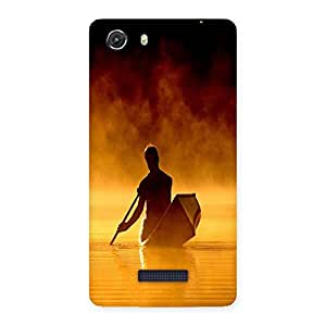 Ajay Enterprises Man And Boat Shado Back Case Cover for Micromax Unite 3