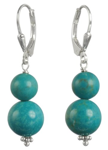 Sterling Silver Lever Back Stabilized 10mm and 8mm Turquoise Bead Snowman Drop Earrings