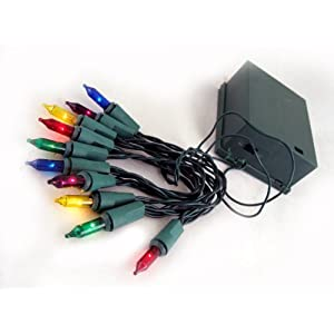 Click to buy Set of 10 Battery Operated Multi-Color Mini Christmas Lights - Green Wire from Amazon!